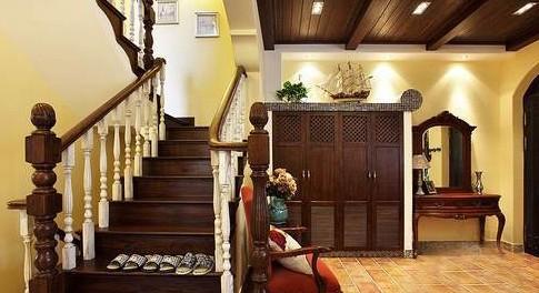 欧式红木楼梯玄关图