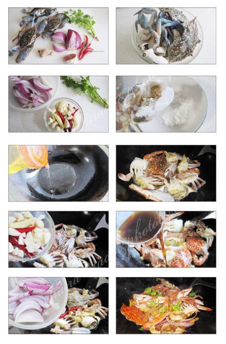 姜葱炒蟹的做法(海鲜大排档元老级小炒菜谱)