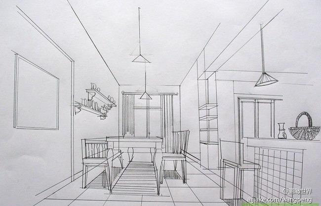 家用餐厅手绘效果图-120㎡ 素描时光 家居 回归自然纯真风