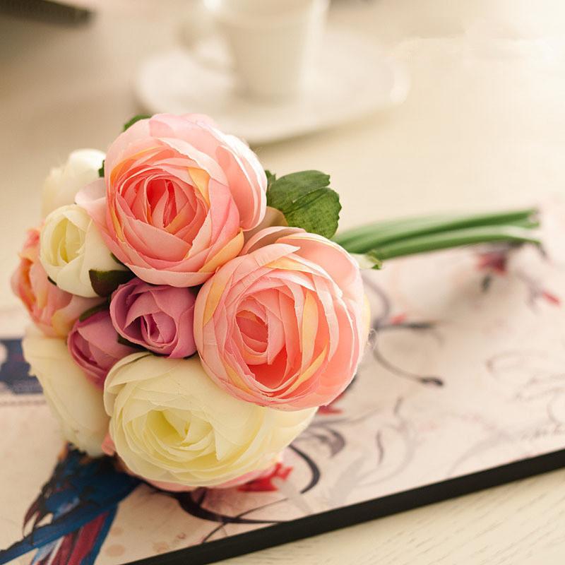 欧式田园小清新清雅包心玫瑰绢花浪漫手捧花仿真花