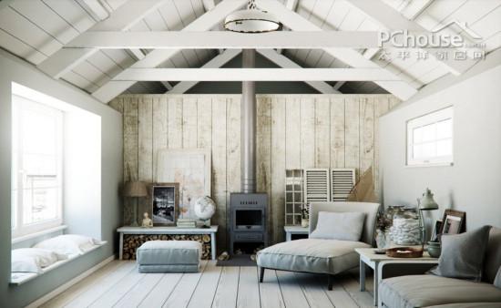 所以这样的斜面式木板状天花板的设计结合了乡村风格