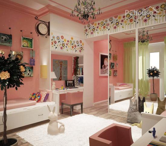 今天的儿童房多种多样,每个儿童房个性、款式、颜色和图案都在发挥着无尽的可能性。你会发现每个房间都包含着一个女孩的童年的每一个阶段的设计和创意。小编今天推荐了来自全国各地的15款儿童房设计精品,所以你一定要找到一个设计让你心花怒放。   设计重点:儿童房尽量避免了沉重的色彩,所以在这明媚的春天,亮丽绚烂的色彩轻松成为女孩们的最爱。无论是蕾丝、桃粉还是hello kitty,各式各样的年轻可爱元素都可以运用于卧室之中。   编辑首推款式:  蝴蝶装饰   设计重点:蝴蝶装饰   编辑点评:这款儿童房的一角,以