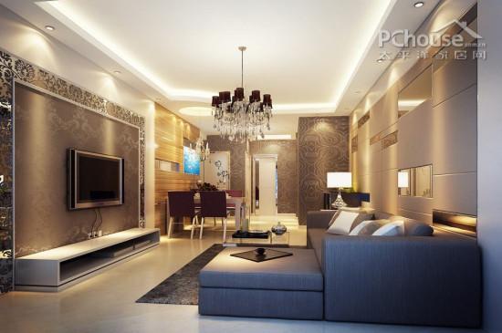 二居室 85㎡ 客厅装修效果图 简约设计镜面墙效果图