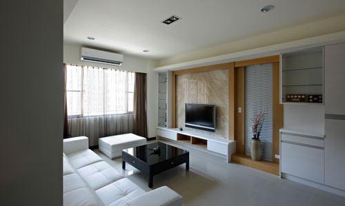 客厅木条加方框隔断