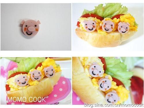 11,12 配上些水果,蔬菜,牛奶等,宝宝的三只小猪三明治早餐就做好了.