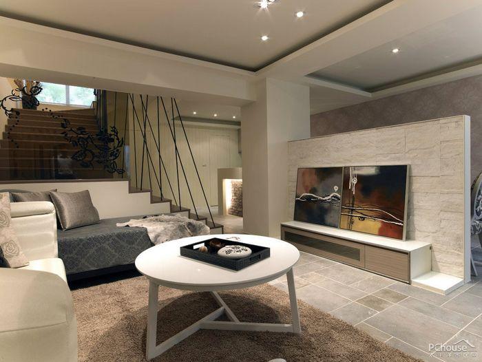 装修 效果图 平南/客厅以复古地砖搭配素雅壁纸,并用天然石材做为与餐厅分野的半...