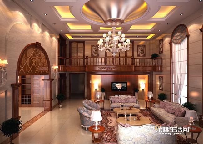 欧式客厅顶部设计了一个超大喇叭口